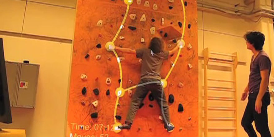 Kinect turns Wall Climbing into interactive game